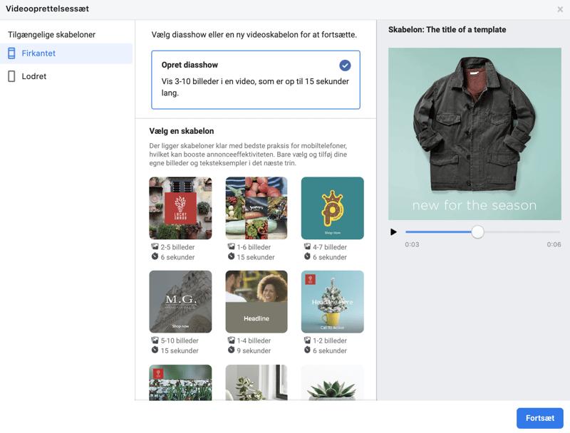 Facebook diasshow og skabeloner